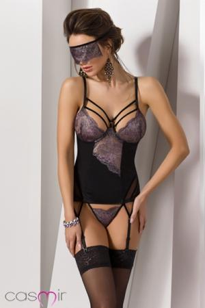 Set guêpière et masque Fiero : Ensemble de lingerie sexy et mystérieux avec ce masque de dentelle qui cache le regard.