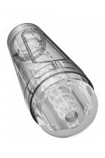 Masturbateur Main Squeeze Optix : Puissant masturbateur pour hommes, 100% transparent, avec boitier extérieur rigide, par Doc Johnson.