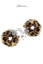 Menottes de poignets Tigre : Paire de menottes Glamour en métal, recouvertes d'une fourrure tigrée, par Sweet Caress.