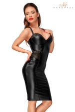 Robe moulante wetlook F180 : Robe sexy mi-longue au style vraiment exceptionnel.