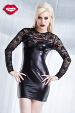 Robe dentelle Darque : Robe sexy manches longues en lycra wet look et dentelle. Absolument divine.