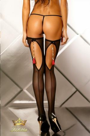 Boudoir - Bas r�sille : Paire de bas r�sille � couture, d�cor�s d'une chainette dor�e termin�e par un pompon rouge.